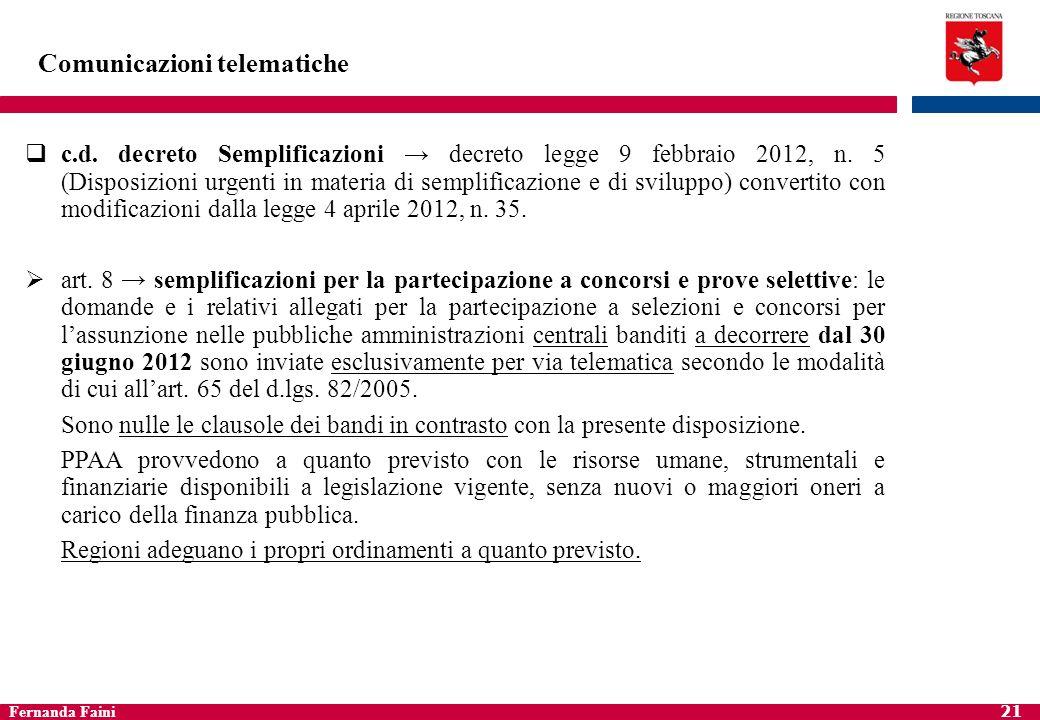 Fernanda Faini 22 Comunicazioni telematiche art.47-quinquies del decreto Semplificazioni d.l.