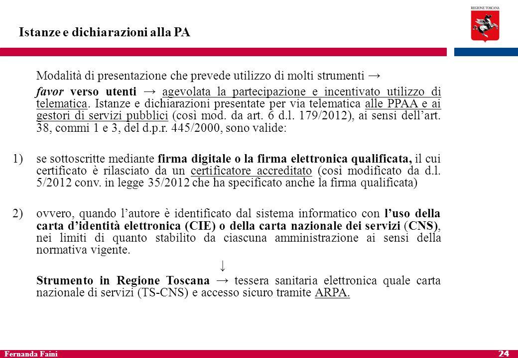 Fernanda Faini 25 Istanze e dichiarazioni alla PA 3)ovvero quando lautore è identificato dal sistema informatico con i diversi strumenti ex art.