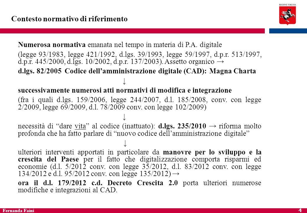 Fernanda Faini 5 Contesto normativo di riferimento Regione Toscana Statuto regionale alcuni fondamentali principi : art.