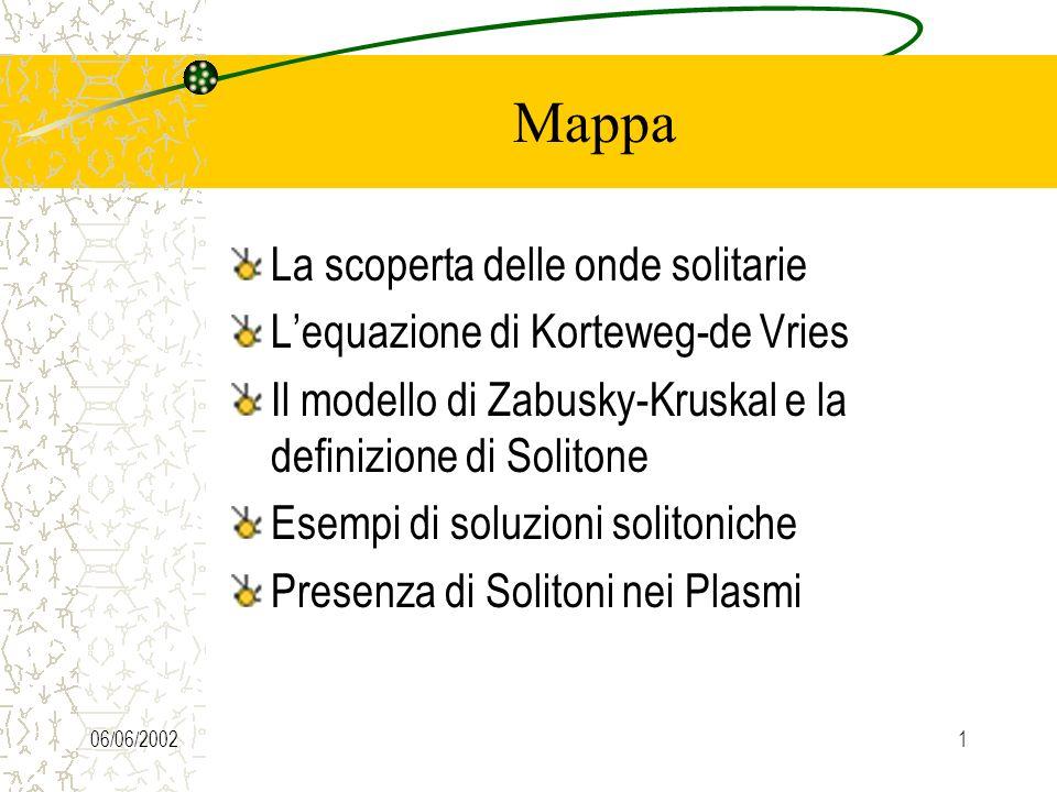 06/06/20021 Mappa La scoperta delle onde solitarie Lequazione di Korteweg-de Vries Il modello di Zabusky-Kruskal e la definizione di Solitone Esempi di soluzioni solitoniche Presenza di Solitoni nei Plasmi