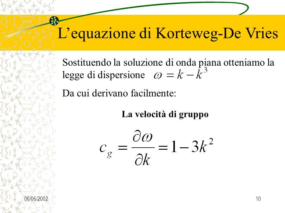 06/06/200210 Lequazione di Korteweg-De Vries Sostituendo la soluzione di onda piana otteniamo la legge di dispersione Da cui derivano facilmente: La velocità di gruppo