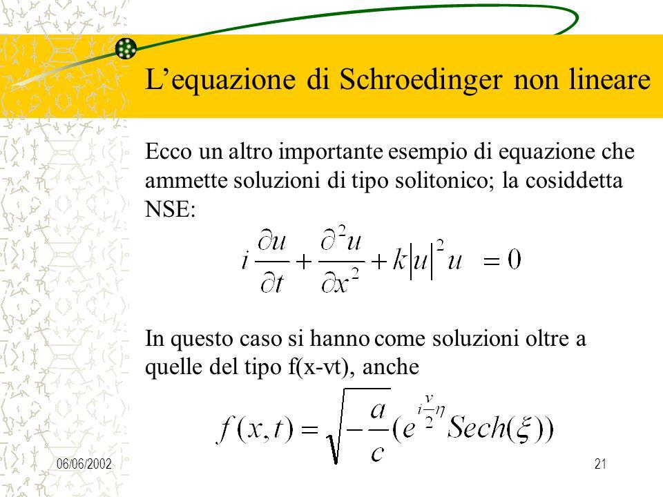 06/06/200221 Lequazione di Schroedinger non lineare Ecco un altro importante esempio di equazione che ammette soluzioni di tipo solitonico; la cosiddetta NSE: In questo caso si hanno come soluzioni oltre a quelle del tipo f(x-vt), anche