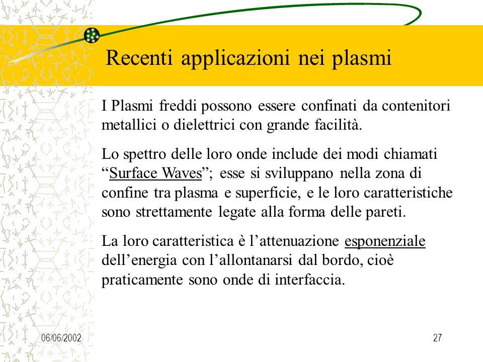 06/06/200227 Recenti applicazioni nei plasmi I Plasmi freddi possono essere confinati da contenitori metallici o dielettrici con grande facilità.