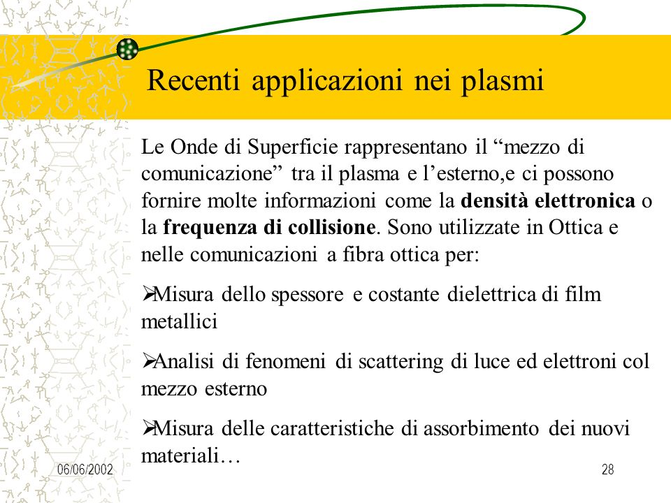 06/06/200228 Recenti applicazioni nei plasmi Le Onde di Superficie rappresentano il mezzo di comunicazione tra il plasma e lesterno,e ci possono fornire molte informazioni come la densità elettronica o la frequenza di collisione.