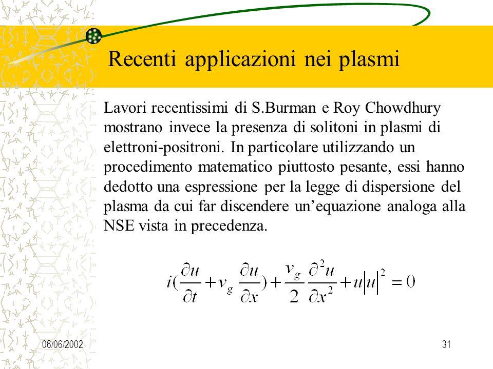 06/06/200231 Recenti applicazioni nei plasmi Lavori recentissimi di S.Burman e Roy Chowdhury mostrano invece la presenza di solitoni in plasmi di elettroni-positroni.