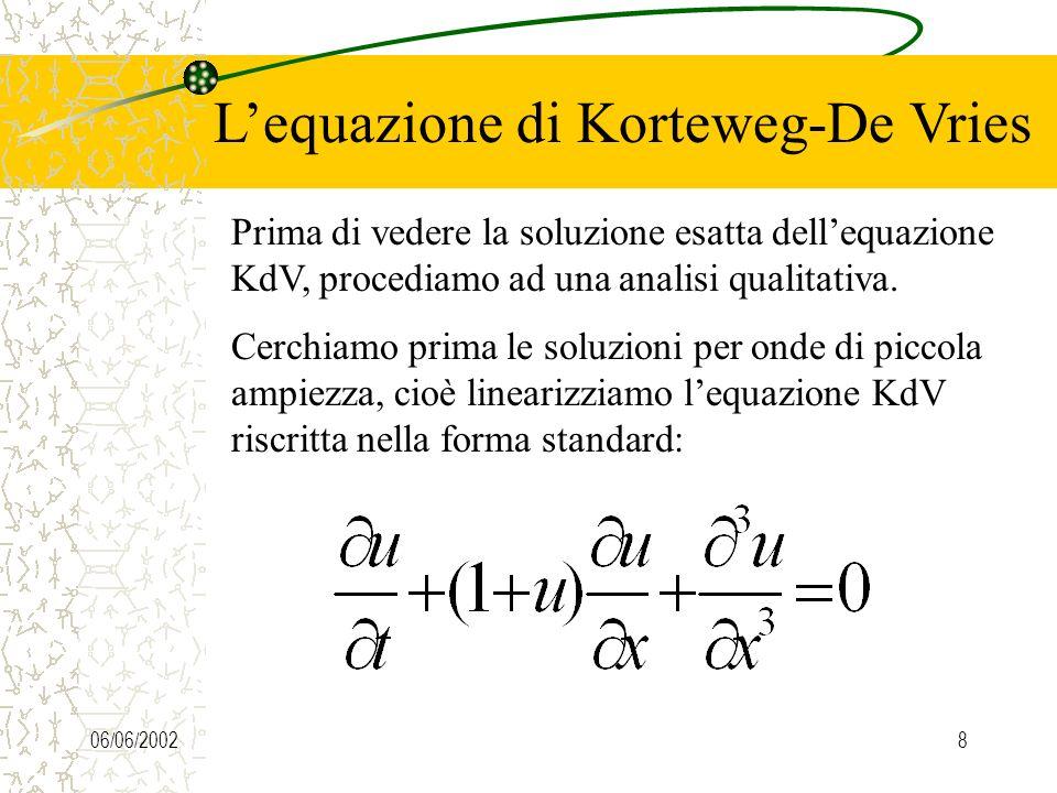 06/06/20028 Lequazione di Korteweg-De Vries Prima di vedere la soluzione esatta dellequazione KdV, procediamo ad una analisi qualitativa.