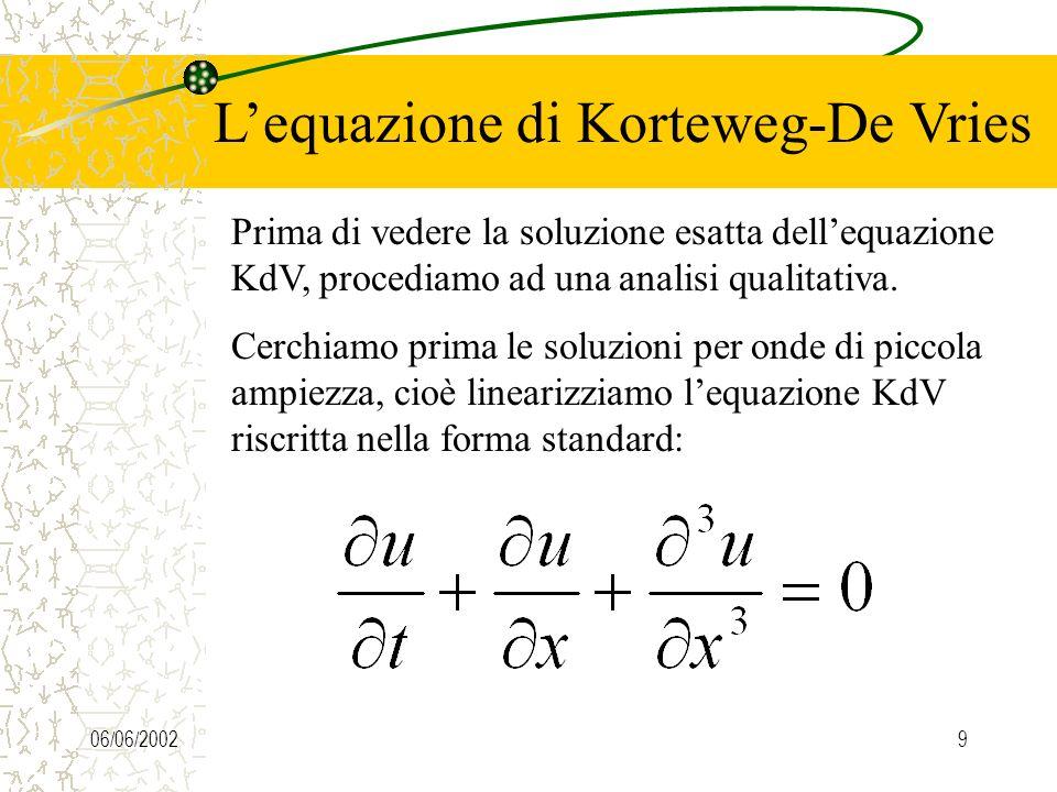 06/06/20029 Lequazione di Korteweg-De Vries Prima di vedere la soluzione esatta dellequazione KdV, procediamo ad una analisi qualitativa.