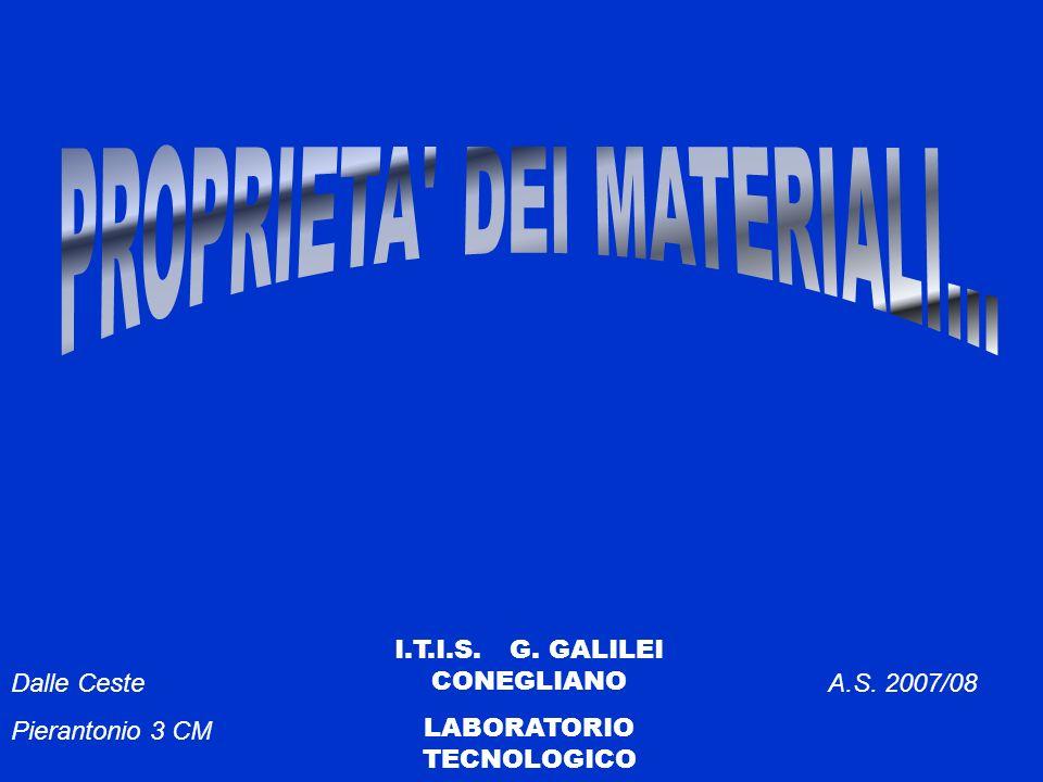 PROPRIETÀ DEI MATERIALI Forniscono indicazioni riguardo le attitudini che hanno i materiali a lasciarsi trasformare o di resistere agli sforzi esterni 1) Proprietà fisiche Proprietà fisiche 2) Proprietà chimiche Proprietà chimiche 3) Proprietà meccaniche Proprietà meccaniche 4) Proprietà tecnologiche Proprietà tecnologiche 5) Proprietà magnetiche Proprietà magnetiche