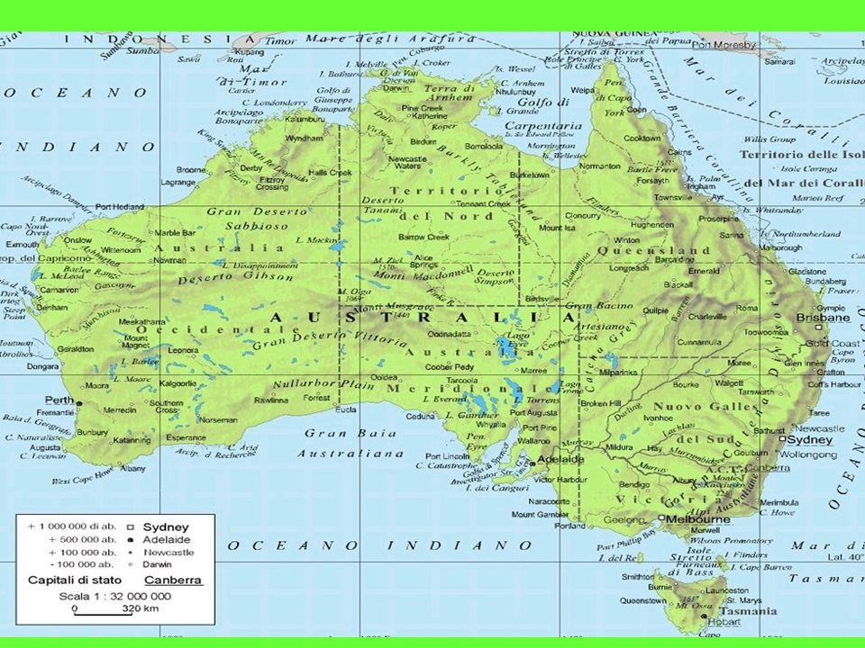 IL TERRITORIO Per 2/3 desertico,si può suddividere in tre zone distinte:a est la Grande Catena Divisoria,che culmina a sud nelle Alpi Australiane;la parte centrale è una zona di depressioni che corrispondono ai bacini del fiume Murray-Darling e del lago Eyre;a ovest si estende lo scudo australiano,una serie di altipiani e vaste zone desertiche.
