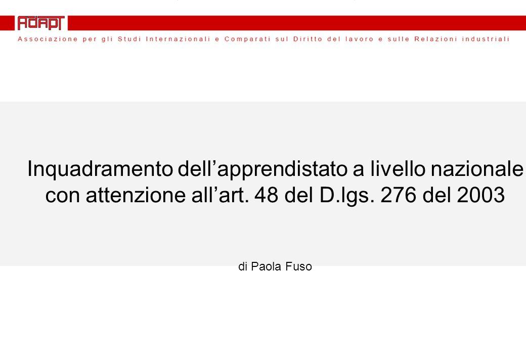 TIPOLOGIE DI APPRENDISTATO Riforma Biagi (d.lgs. n.