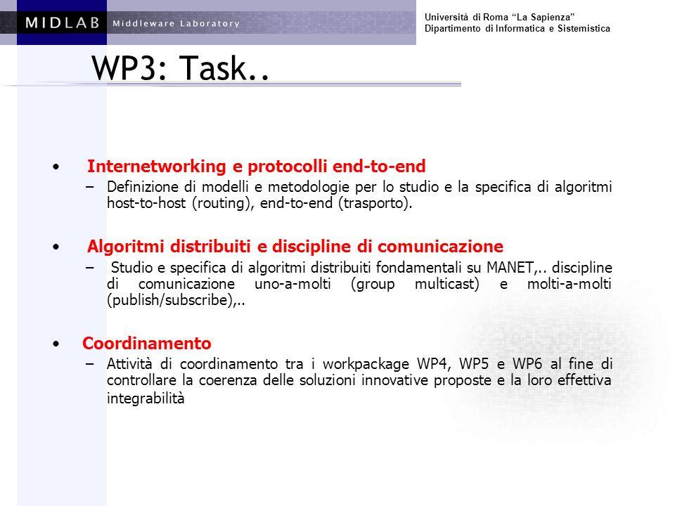 Università di Roma La Sapienza Dipartimento di Informatica e Sistemistica WP3: Modelli ed algoritmi I Task del WP –M5: DRAFT; M10: REVISED; M28: FINAL Personale –3 Strutturati Baldoni, Beraldi, Cioffi –2 Dottorandi Milani, Querzoni –1 Tecnico Termini