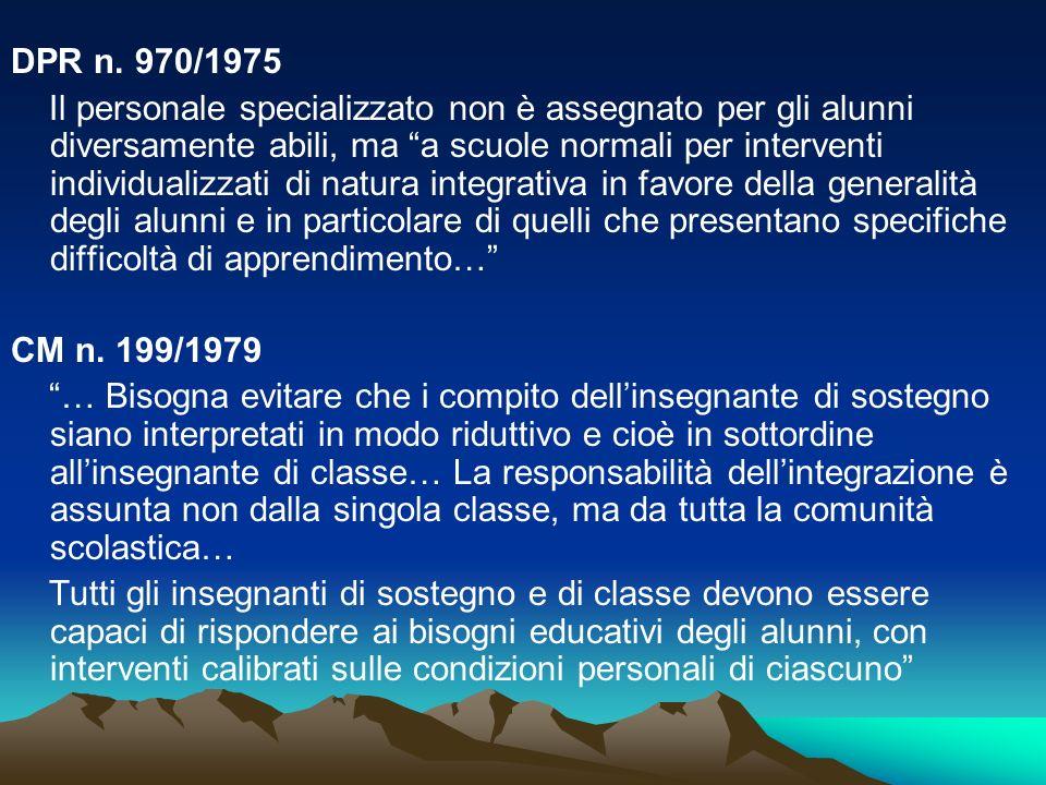 CM 250/1985 La responsabilità dellintegrazione è, al medesimo titolo, dellinsegnante o degli insegnanti di classe e della comunità scolastica nel suo insieme.
