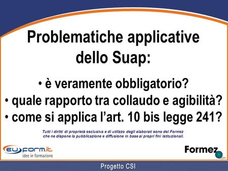 Problematiche applicative dello Suap: