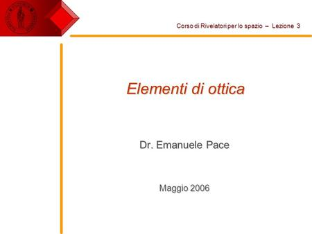 Dr. Emanuele Pace Maggio 2006