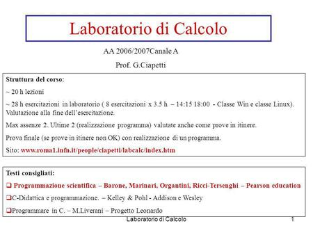 Laboratorio di Calcolo