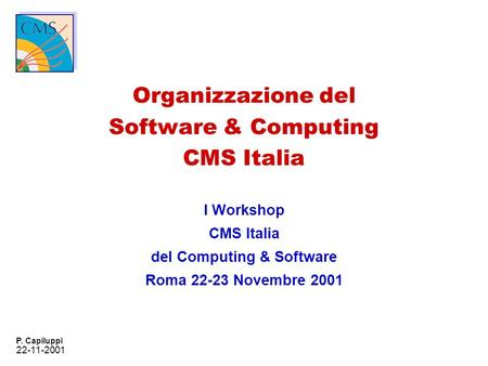 22-11-2001 P. Capiluppi Organizzazione del Software & Computing CMS Italia I Workshop CMS Italia del Computing & Software Roma 22-23 Novembre 2001.