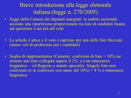 Il sistema elettorale italiano ppt scaricare for Ripartizione seggi camera