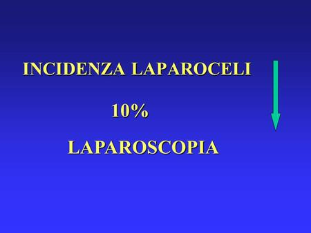 INCIDENZA LAPAROCELI 10% LAPAROSCOPIA. INCIDENZA RECIDIVE 20 - 50% MATERIALI PROTESICI.