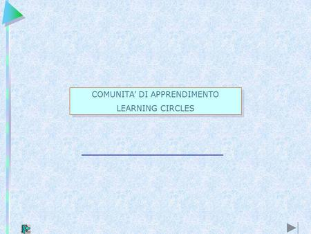 COMUNITA DI APPRENDIMENTO LEARNING CIRCLES COMUNITA DI APPRENDIMENTO LEARNING CIRCLES.