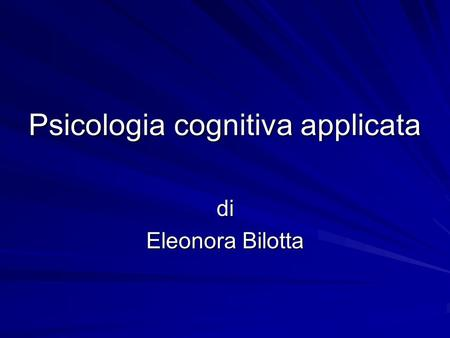 Psicologia cognitiva applicata