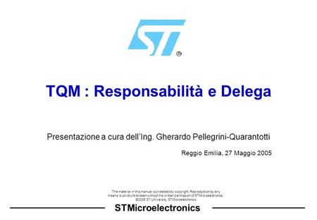 STMicroelectronics The material in this manual is protected by copyright. Reproduction by any means is strictly forbidden without the written permission.