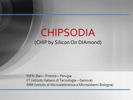 CHIPSODIA (CHIP by Silicon On DIAmond)