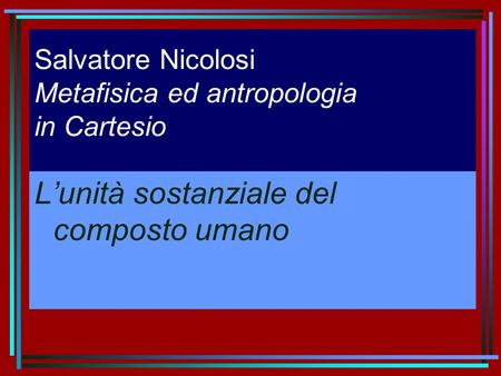 Salvatore Nicolosi Metafisica ed antropologia in Cartesio