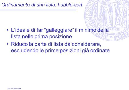 Ordinamento di una lista: bubble-sort