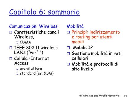 6: Wireless and Mobile Networks6-1 Capitolo 6: sommario Comunicazioni Wireless r Caratteristiche canali Wireless, m CDMA r IEEE 802.11 wireless LANs (wi-fi)