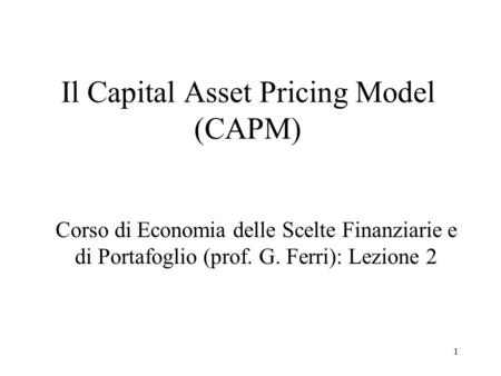 Il Capital Asset Pricing Model (CAPM)