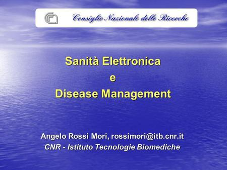Sanità Elettronica e Disease Management