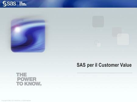 SAS per il Customer Value