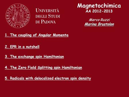 Magnetochimica AA 2012-2013 Marco Ruzzi Marina Brustolon 1. The coupling of Angular Momenta 2. EPR in a nutshell 3. The exchange spin Hamiltonian 4. The.