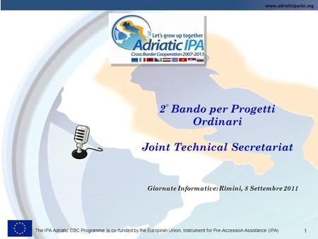 2° Bando per Progetti Ordinari Joint Technical Secretariat