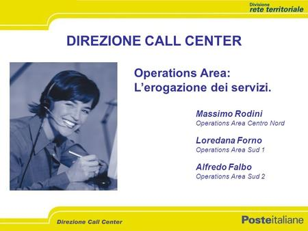 DIREZIONE CALL CENTER Operations Area: Lerogazione dei servizi. Massimo Rodini Operations Area Centro Nord Loredana Forno Operations Area Sud 1 Alfredo.