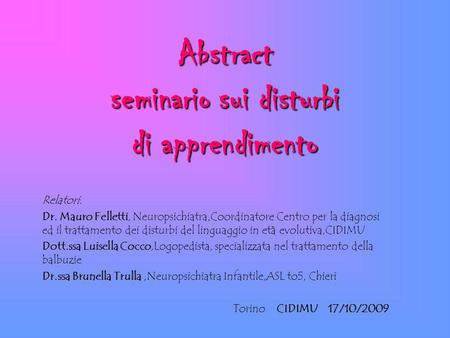 Abstract seminario sui disturbi di apprendimento