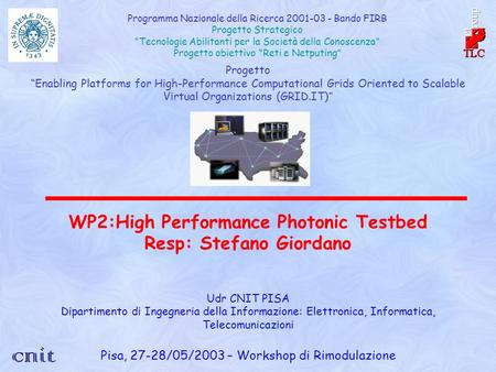 Progetto Enabling Platforms for High-Performance Computational Grids Oriented to Scalable Virtual Organizations (GRID.IT) WP2:High Performance Photonic.