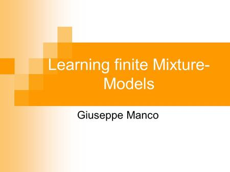 Learning finite Mixture-Models
