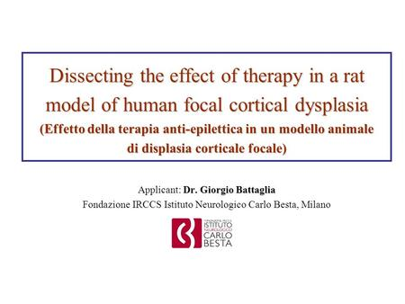 Dissecting the effect of therapy in a rat model of human focal cortical dysplasia (Effetto della terapia anti-epilettica in un modello animale di displasia.