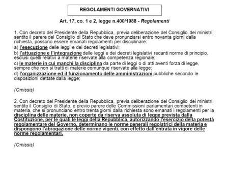 Regolamenti il termine regolamento ambiguo ppt for Legge della repubblica