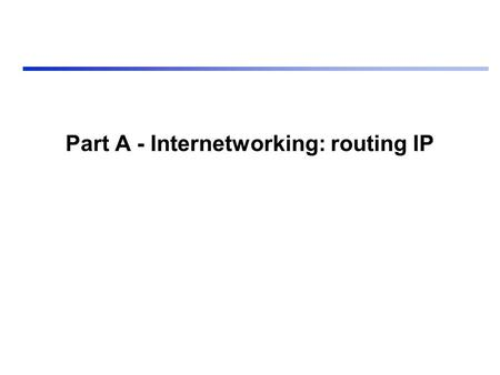 Part A - Internetworking: routing IP. Sommario Introduzione Tecniche di instradamento Indirizzi L'instradamento Neighbor greetings L'internetworking multiprotocollo.