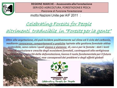 Motto Nazioni Unite per AIF 2011 : Celebrating Forests for People altrimenti traducibile in Foreste per la gente REGIONE MARCHE – Assessorato alla Forestazione.