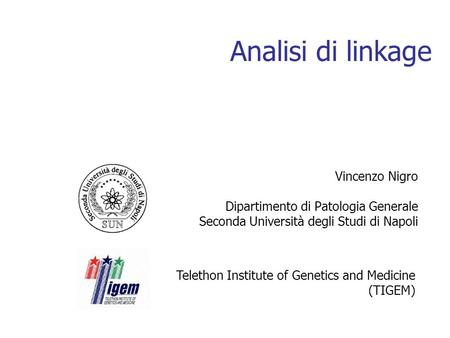 Analisi di linkage Vincenzo Nigro Dipartimento di Patologia Generale Seconda Università degli Studi di Napoli Telethon Institute of Genetics and Medicine.