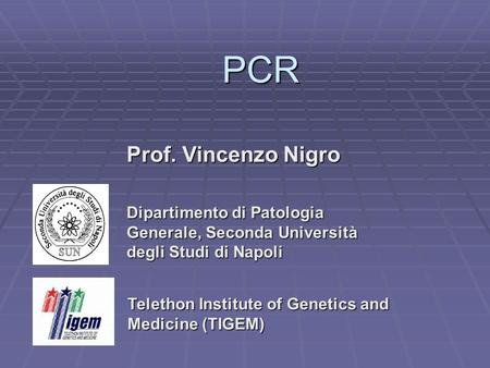 PCR Prof. Vincenzo Nigro Dipartimento di Patologia Generale, Seconda Università degli Studi di Napoli Telethon Institute of Genetics and Medicine (TIGEM)