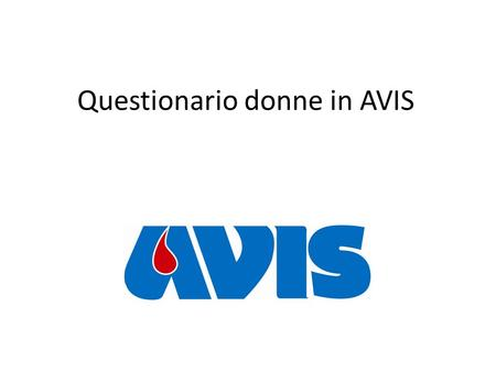 Questionario donne in AVIS