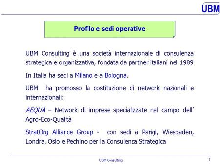 UBM UBM Consulting s.r.l. International Management and Research Consultants UBM Certificato n°06774-2000.
