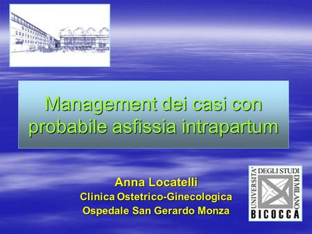 Management dei casi con probabile asfissia intrapartum