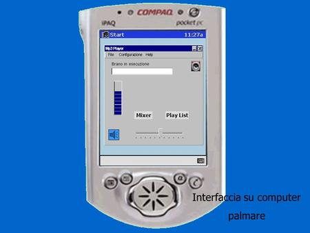 Brano in esecuzione MixerPlay List Interfaccia su computer palmare.