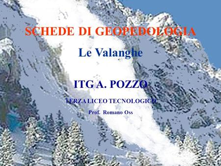 SCHEDE DI GEOPEDOLOGIA Le Valanghe