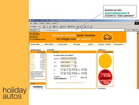 Andare sul sito: www.holidayautos.it e ciccare su area operatori www.holidayautos.it.